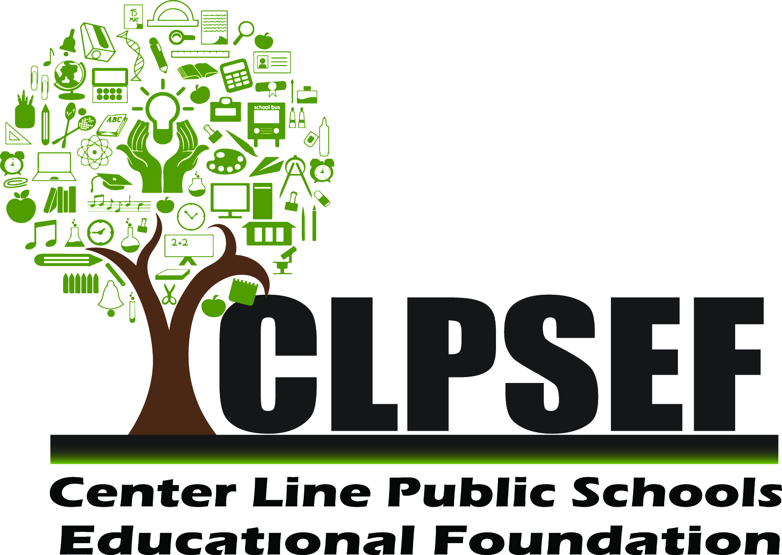 CLPSEF logo including a brown tree with green leaves made of education symbols and the acronym CLPSEF.
